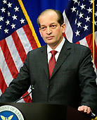 United States Secretary of Labor Alex Acosta holds a press conference at the Department of Labor in Washington, DC on Wednesday, July 10, 2019.<br /> Credit: Ron Sachs / CNP<br /> (RESTRICTION: NO New York or New Jersey Newspapers or newspapers within a 75 mile radius of New York City)
