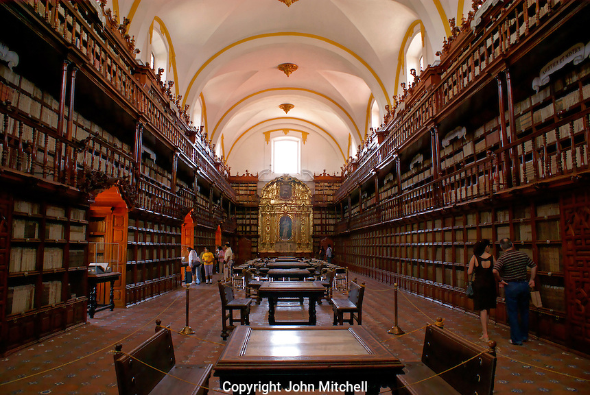 The Biblioteca Palafoxiana library in the city of Puebla, Mexico. The historical center of Puebla is a UNESCO World Heritage Site.. .