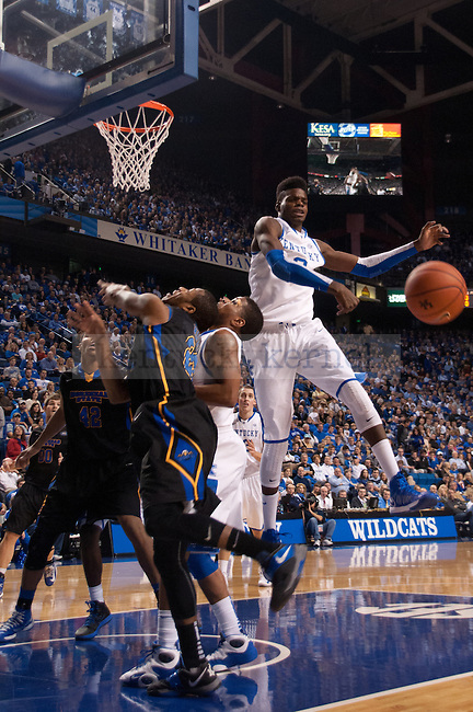 Freshman forward Nerlens Noel blocks a shot during the first of the UK Men's Basketball game against Morehead State at Rupp Arena in Lexington, Ky., on Wednesday, November. 21, 2012..