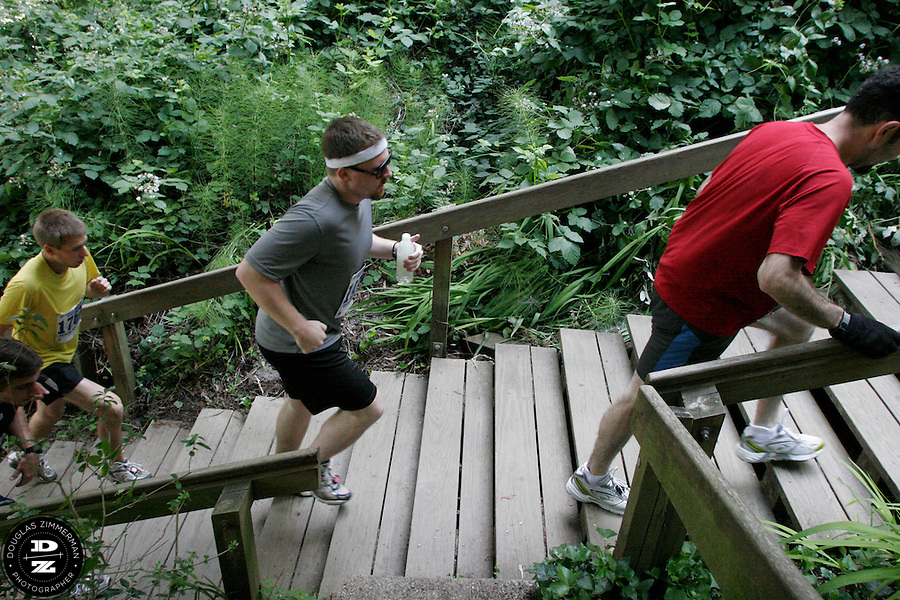 Runners make their way up the Dipsea stairs in Mill Valley, Calif on Sunday, June 8, 2008.  The Dipsea starts in Mill Valley, goes over Mt. Tamalapais, and ends in Stinson Beach.