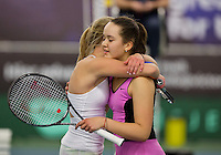 March 15, 2015, Netherlands, Rotterdam, TC Victoria, NOJK,  Winner Liza Lebedzeva (NED) is congratulated bij runner up Nina Kruijer (L)<br /> Photo: Tennisimages/Henk Koster