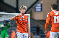 Cameron McGeehan of Luton Town argues with Oliver Lee of Luton Town during the Sky Bet League 2 match between Wycombe Wanderers and Luton Town at Adams Park, High Wycombe, England on 6 February 2016. Photo by Andy Rowland.