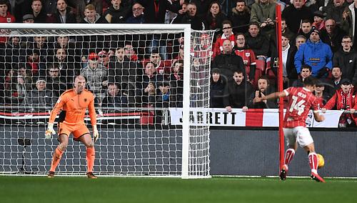 30th December 2017, Ashton Gate, Bristol, England; EFL Championship football, Bristol City versus Wolverhampton Wanderers; Bobby Reid of Bristol City lines up to strike in the 53rd minute