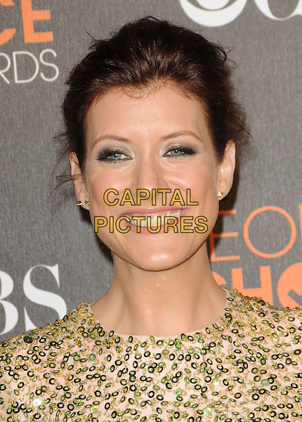 KATE WALSH.Arrivals at the 2010 People's Choice Awards held at the Nokia Theater L.A. Live in Los Angeles, California, USA. .January 6th, 2010.headshot portrait pink beige green silver sequins sequined.CAP/RKE/DVS.©DVS/RockinExposures/Capital Pictures.