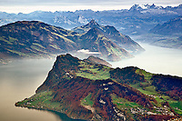 Lake Lucerne surrounded by the Alps and rural countryside viewed from atop Pilatus Mountain, Lucerne, Switzerland