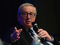 "Washington, DC - April 21, 2017: European Commission President Jean-Claude Juncker speaks at the""Financing for Peace"" panel discussion during the annual Spring Meetings of the IMF/World Bank Group at the IMF headquarters in the District of Columbia April 21, 2017. (Photo by Don Baxter/Media Images International)"