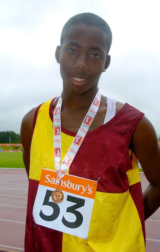 Photo: Richard Lane/Richard Lane Photography..Sainsbury's English Schools Track and Field Championships, Birmingham. 13/07/2007. .Romane Walcott of Middlesex with bronze in the Junior Boys Long Jump.