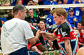 Prince Harry of Wales shakes hands with Lieutenant General John E. Hyten, Vice Commander of Air Force Space Command, during an exhibition volleyball match between U.S. and U.K. wounded warrior volleyball teams during the Warrior Games here May 11, 2013. Olympic gold medalists Misty May-Treanor, Missy Franklin and Paralympic medalists Kari Miller and Brad Snyder were in attendance to support the wounded athletes. From May 11-16, more than 200 wounded, ill and injured service members and veterans from the U.S. Marines, Army, Air Force and Navy, as well as a team representing U.S. Special Operations Command and an international team representing the United Kingdom, will compete for the gold in track and field, shooting, swimming, cycling, archery, wheelchair basketball and sitting volleyball at the U.S. Olympic Training Center and U.S. Air Force Academy here. The military service with the most medals will win the Chairman's Cup..Mandatory Credit: Tyler L. Main / DoD via CNP