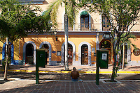 Restored nineteenth century buildings on the Plazuela Machado  in Old Mazatlan, Sinaloa, Mexico                 .