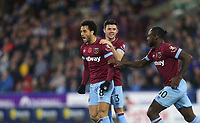 West Ham United's Felipe Anderson celebrates scoring his side's first goal with Aaron Cresswell and Michail Antonio<br /> <br /> Photographer Rob Newell/CameraSport<br /> <br /> The Premier League - Huddersfield Town v West Ham United - Saturday 10th November 2018 - John Smith's Stadium - Huddersfield<br /> <br /> World Copyright © 2018 CameraSport. All rights reserved. 43 Linden Ave. Countesthorpe. Leicester. England. LE8 5PG - Tel: +44 (0) 116 277 4147 - admin@camerasport.com - www.camerasport.com