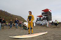 Shane Desmond on shore before paddling out to the jet ski during the first round of the 2008 Mavericks Surf Contest from the in Half Moon Bay, Calif., Saturday, January 12, 2008...Photo by David Calvert/isiphotos.com