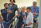 "United States Senator Charles Grassley (Republican of Iowa) is interviewed by reporters on the escalator to go into the Senate Subway after the vote on the repeal of the Affordable Care Act (ACA) also known as ""Obamacare"" in the US Capitol in Washington, DC on Wednesday, July 26, 2017.  The Senate voted 55-45 to reject legislation undoing major portions of President Barack Obama's signature healthcare law without a plan to replace it.<br /> Credit: Ron Sachs / CNP"
