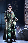 """Pictured: Matthew Best as Tiresias, a blind prophet. Dress rehearsal of Thebans. English National Opera gives world premiere of British composer Julian Anderson's first opera """"Thebans"""" at the London Coliseum. Thebans is based on the three Theban plays by Sophocles that chronicle the cursed life of Oedipus and his daughter Antigone. Thebans opens at the London Coliseum on 3 May 2014 for 7 performances. The new production is supported by The Boltini Trust, PRS for Music Foundation and ENO's Contemporary Opera Group, a co-production with Theater Bonn in Germany. With Roland Wood as Oedipus, Peter Hoare as Creon (Jocasta's brother), Matthew Best as Tiresias (blind prophet), Susan Bickley as Jocasta (Oedipus' mother/wife) and Julia Sporsen as Antigone (Oedipus' daugher). Score by Julian Anderson, libretto by Frank McGuinness, directed by Pierre Audi and conducted by Edward Gardner."""