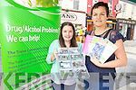 Laura Desmond and Gemma Hilario of Tralee Community Drugs Initiative at a Alcohol and Drugs Awareness Initiative run by NEKD at the Infopod in Tralee Square.  Also in Manor on Wednesday 6th August.