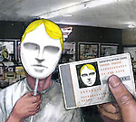 Man showing his fake identity card to security