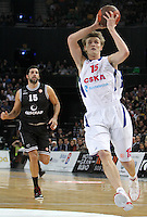 28.03.2012 Bilbao, Spain. Euroleague Playoff game 3. Picture show Alex Mumbru (L) and Andrei Kirilenko (R)in action   during match betwen Gescrap BB againts CSKA Moscow at Bilbao Arena