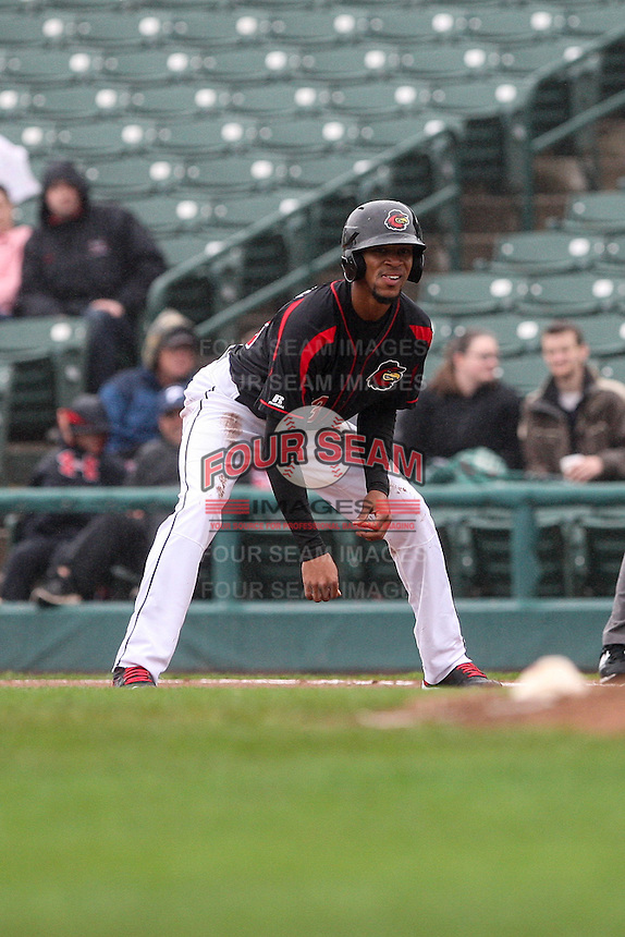 Rochester Red Wings designated hitter Byron Buxton (53) leads off first against the Scranton Wilkes-Barre Railriders on May 1, 2016 at Frontier Field in Rochester, New York. Red Wings won 1-0.  (Christopher Cecere/Four Seam Images)