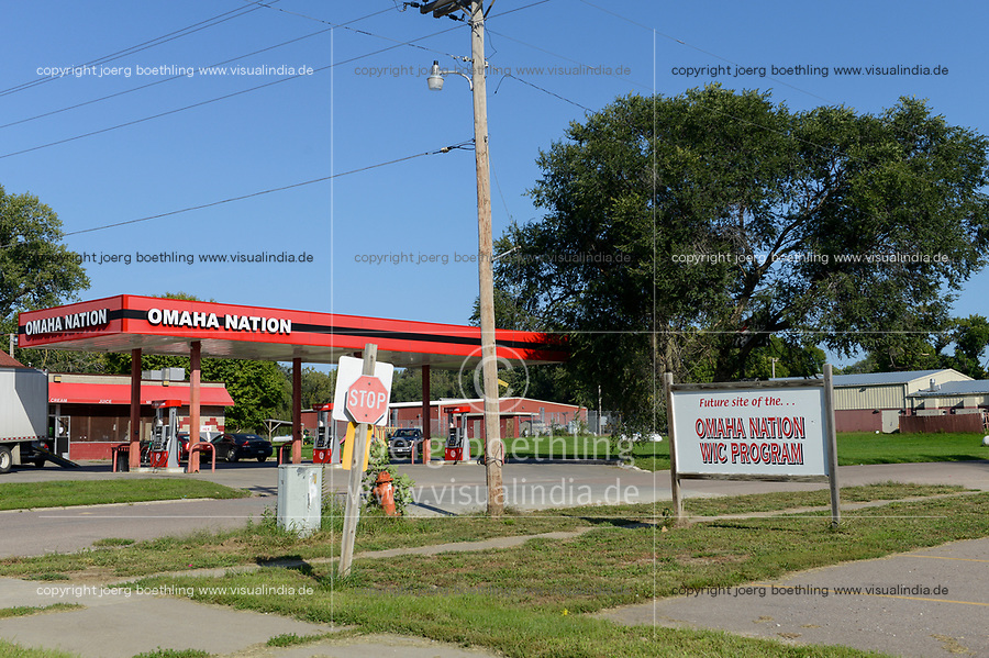 USA, Nebraska, Stadt Macy, Omaha Reservation, fuel station run by Omaha Nation
