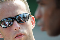 New York Red Bulls Thierry Henry (14) is reflected in a reporters glasses during an interview after a New York Red Bulls practice on the campus of Montclair State University in Upper Montclair, NJ, on July 16, 2010.