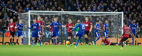 01.03.2016. King Power Stadium, Leicester, England. Barclays Premier League. Leicester versus West Bromwich Albion. Leicester City midfielder Jeff Schulupp takes a shot at the West Bromwich goal which is deflected into the hands of keeper Foster.