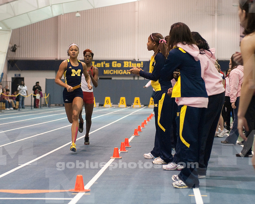 "The University of Michigan women's track and field team falls to 23rd-ranked Ohio State, 83-78, in the inaugural ""The Dual"" in Ann Arbor, MI, on January 15, 2011."