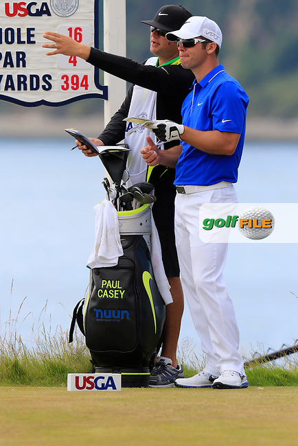 Paul CASEY (ENG) on the 16th tee during Thursday's Round 1 of the 2015 U.S. Open 115th National Championship held at Chambers Bay, Seattle, Washington, USA. 6/18/2015.<br /> Picture: Golffile   Eoin Clarke<br /> <br /> <br /> <br /> <br /> All photo usage must carry mandatory copyright credit (&copy; Golffile   Eoin Clarke)