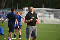 Kansas City, MO - Saturday May 07, 2016: FC Kansas City head coach Vlatko Andonovski before a regular season National Women's Soccer League (NWSL) match at Swope Soccer Village. Houston won 2-1.
