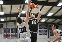 Charleston Jordan Fenner (33) shoots, Friday, February 14, 2020 during a basketball game at Elkins High School in Elkins. Check out nwaonline.com/prepbball/ for today's photo gallery.<br /> (NWA Democrat-Gazette/Charlie Kaijo)