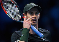 Andy Murray (GBR) in action during the ATP World tour final against Novak Djokovic (SRB), ATP World Tour Finals 2016, Day Eight, O2 Arena, Peninsula Square, London, United Kingdom, 20th Nov 2016