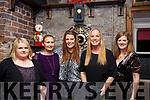 Blathnaid Whelan, Cliona Whelan, Adeline Palleschi, Anette Hanriksson and Amanda Belyea celebrating Womens Little Christmas in the Croi Restaurant on Saturday night.