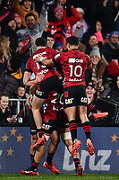 11th July 2020, Christchurch, New Zealand;  David Havili and Richie Mo'unga celebrates Will Jordan of the Crusaders winning try during the Super Rugby Aotearoa, Crusaders versus Blues, at Orangetheory Stadium, Christchurch