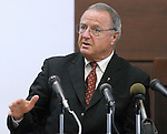 Florida State University head football coach Bobby Bowden testifies, under supeona, for the defense in the Adrian McPherson gambling trial at the Leon County Courthouse on Thursday morning June 5, 2003 in Tallahassee, Florida. (Mark Wallheiser/TallahasseeStock.com)