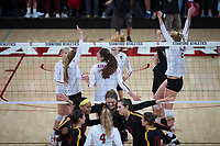 STANFORD, CA - November 15, 2017: Kate Formico, Audriana Fitzmorris, Jenna Gray, Meghan McClure, Kathryn Plummer, Morgan Hentz at Maples Pavilion. The Stanford Cardinal defeated USC 3-0 to claim the Pac-12 conference title.