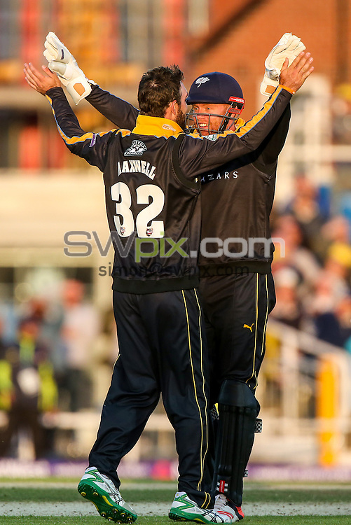 Picture by Alex Whitehead/SWpix.com - 05/06/2015 - Cricket - NatWest T20 Blast - Yorkshire Vikings v Lancashire Lightning - Headingley Cricket Ground, Leeds, England - Yorkshire's Glenn Maxwell and Jonny Bairstow celebrate.