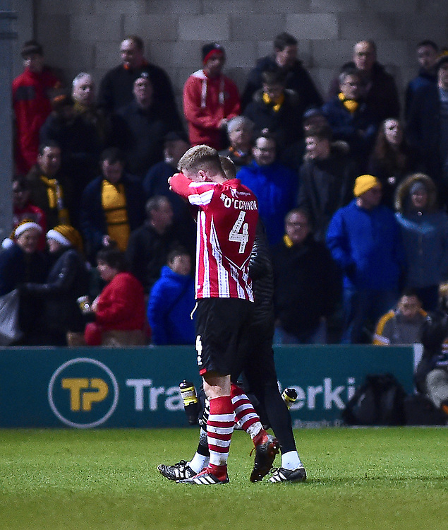 Lincoln City's Michael O'Connor goes off injured<br /> <br /> Photographer Andrew Vaughan/CameraSport<br /> <br /> The EFL Sky Bet League Two - Lincoln City v Newport County - Saturday 22nd December 201 - Sincil Bank - Lincoln<br /> <br /> World Copyright © 2018 CameraSport. All rights reserved. 43 Linden Ave. Countesthorpe. Leicester. England. LE8 5PG - Tel: +44 (0) 116 277 4147 - admin@camerasport.com - www.camerasport.com