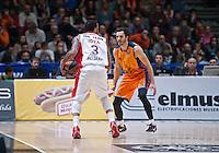 VALENCIA, SPAIN - 05/12/2014. Williams del Estrella Roja y Ribas del Valencia Basket durante el partido. Pabellon Fuente de San Luis, Valencia, Spain.
