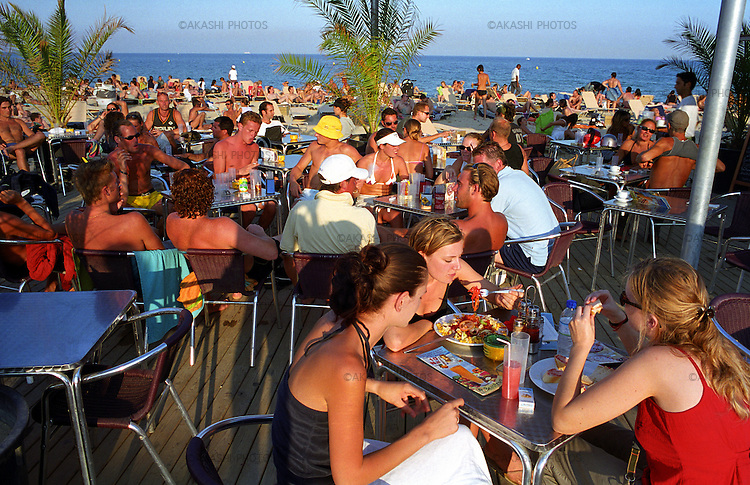 Bar on the Barceloneta beach in Barcelona, Spain.