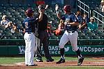 May 22, 2015; Stockton, CA, USA; Loyola Marymount Lions infielder Sean Watkins (2) and infielder Jamey Smart (20) during the WCC Baseball Championship at Banner Island Ballpark.