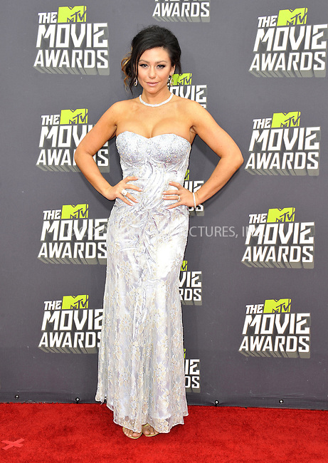 WWW.ACEPIXS.COM....April 14, 2013, Los Angeles, Ca.......Jennifer 'JWoww' Farley arriving at the 2013 MTV Movie Awards at Sony Pictures Studios on April 14, 2013 in Culver City, California.......By Line: Peter West/ACE Pictures....ACE Pictures, Inc..Tel: 646 769 0430..Email: info@acepixs.com