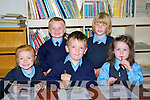DRAWING: Drawing on their first day at Scoil Chri?ost Ri?, Drumnacurra, Causeway on Tuesday, L-r: nTara Burke, Cathal Diggins, Ruairi O'Connor,Josephy Harty and Grace Cantillon.