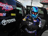 Jan. 17, 2012; Jupiter, FL, USA: NHRA top fuel dragster driver Brandon Bernstein during testing at the PRO Winter Warmup at Palm Beach International Raceway. Mandatory Credit: Mark J. Rebilas-