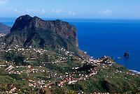 Portugal, Madeira, Blick von Portela auf Porto da Cruz