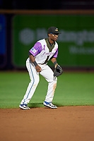 """Akron RubberDucks shortstop Andruw Monasterio (8) during an Eastern League game against the Erie SeaWolves on August 30, 2019 at Canal Park in Akron, Ohio.  Akron wore special jerseys with the slogan """"Fight Like a Kid"""" during the game for Akron Children's Hospital Home Run for Life event, the design was created by 11 year old Macy Carmichael.  Erie defeated Akron 3-2.  (Mike Janes/Four Seam Images)"""