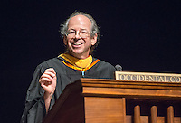 Gregory Tollisen, Adjunct Assistant Professor, Mathematics receives the Linda and Tod White Teaching Prize. Incoming first-years start the year at Occidental College's 127th annual Convocation ceremony on Aug. 28, 2013 in Thorne Hall.<br /> (Photo by Marc Campos, Occidental College Photographer)