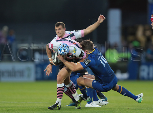 8th September 2017, RDS Arena, Dublin, Ireland; Guinness Pro14 Rugby, Leinster versus Cardiff Blues; Ross Byrne (Leinster) tackles Tom James (Cardiff Blues)