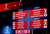 1st December 2017, State Kremlin Palace, Moscow, Russia;  The display boards show the drawn groups  E, F, G and H during the FIFA 2018 World Cup draw, at the State Kremlin Palace in Moscow, Russia, 01 December 2017. Group E includes Brazil, Switzerland, Costa Rica and Serbia. Group F includes Germany, Mexico, Sweden, and South Korea. Group G includes Belgium, Panama, Tunisia, and England. Group H includes Poland, Senegal, Columbia, and Japan.