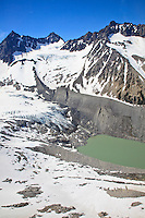 Aerial photo of glaciers and moraines in the  mountains of the Coast Range, just east of Knight Inlet, British Columbia, Canada.