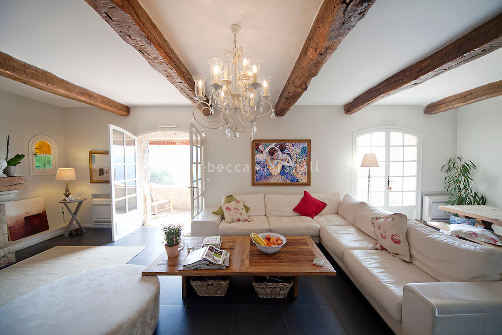 The lounge at Nicole Bekdache's home, Grasse, France, 30 March 2012. The painting of dancers (on wall, centre) was painted by Nicole, inspired by work by Degas.