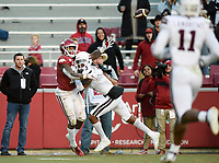 NWA Democrat-Gazette/CHARLIE KAIJO Arkansas wide receiver Treylon Burks (16) completes a pass, Saturday, November 2, 2019 during the fourth quarter of a football game at Donald W. Reynolds Razorback Stadium in Fayetteville. Visit nwadg.com/photos to see more photographs from the game.