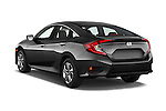 Car pictures of rear three quarter view of 2018 Honda Civic LX 4 Door Sedan Angular Rear